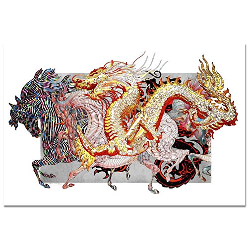 Guillaume Azoulay Le Dragon D'ore (White) Serigraph w/ Silver Leaf S/N w/ COA