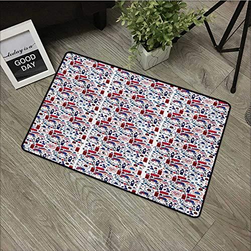 Interior Door mat W24 x L35 INCH London,Pattern with London Symbols Queen Elizabeth Umbrella Tea Party Map Travel Theme,Multicolor Easy to Clean, no Deformation, no Fading Non-Slip Door Mat Carpet