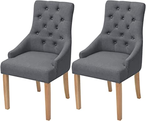 Festnight Oak Dining Chairs Set Of 2 Dining Chair Fabric Cushion For Kitchen Wooden Light Grey 52 X 60 X 95 5 Cm Amazon De Kuche Haushalt