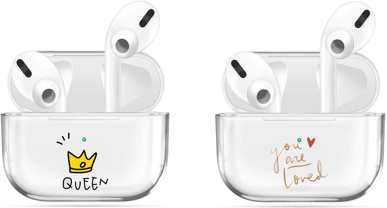 [2Pack] Transparent Case Compatible with Airpods Pro Case Premium Crystal Clear TPU Protective Cover,Visible LED Shock & Scratch&Slip-Resistant, Compatible with Apple AirPods PRO-Queen+Loved