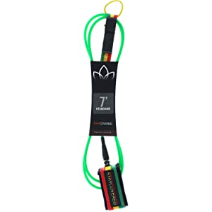 Stay Covered Deluxe Green / Rasta Surfboard Leash - 6'