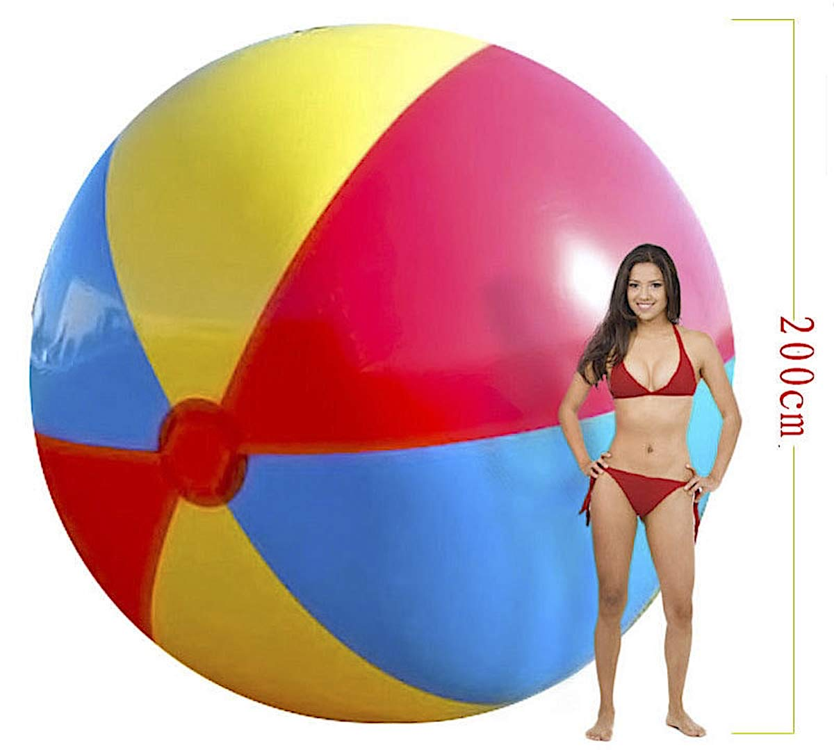 Super Big Giant Inflatable Beach Ball Beach Play Sport Summer Toy Game Party Ball Outdoor Fun Balloon for Kids and Adults, 200cm in Size, 79 inch by Bluebd
