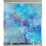 Ambesonne Decorative Art Collection, Artistic Paisley Floral Embroidery Batik White Lace Mandala Watercolor Painting Artwork Print, Fabric Bathroom Shower Curtain, Ombre/Blue/Purple & Aqua