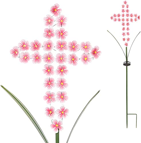 SFgift 40.5 H Solar Stake Lights Metal Cross Pink Hydrangea Flower 28 LED Waterproof Warm White Solar Lights Outdoor Decorative for Remembrance Gifts Garden Pathway Patio Backyard Lawn