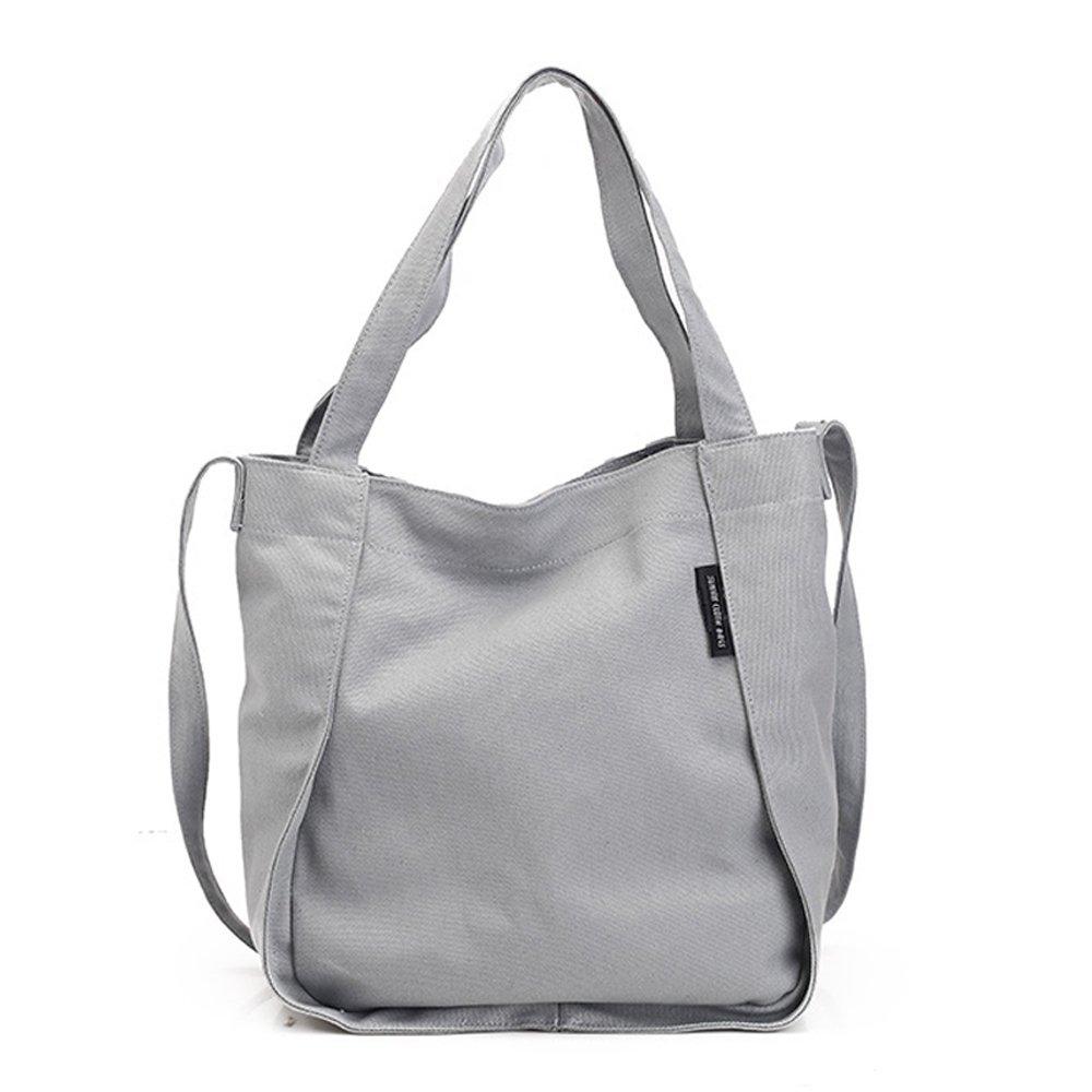 Leisure Canvas Handbags Fresh Casual Handbag Solid Color Style Single Shoulder Diagonal Bag Style Wild (Color : Gray)
