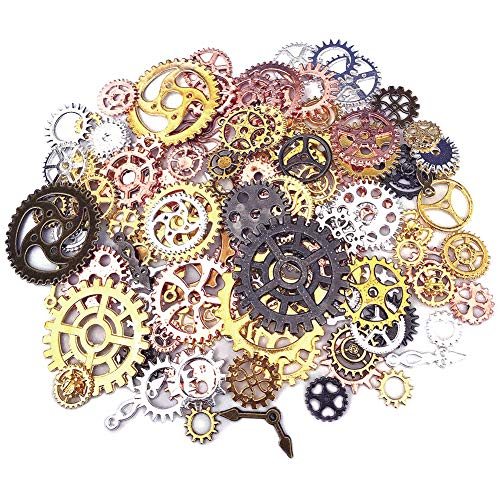 200 Gram Antique Metal Steampunk Gears Charms DIY Pendant Clock Watch Wheel Gear Cog for Jewelry Making from OJYUDD