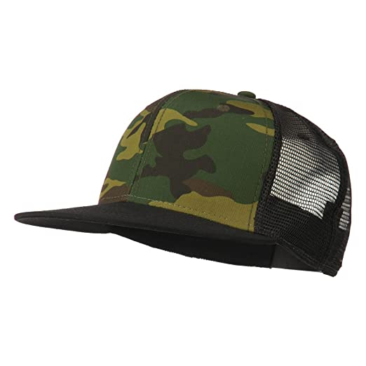 59ee5e9b7304d Camouflage Cotton Flat Bill Trucker Cap - Black Camo OSFM at Amazon ...
