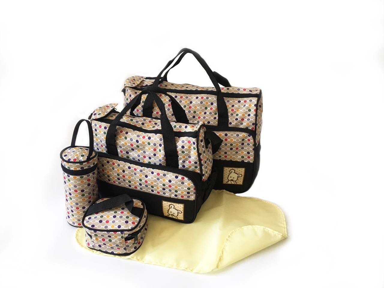 5pcs POLKA DOT Baby Nappy Changing Bags Set Diaper Hospital Bag (5pcs Black Polka Dot Bags) just4baby