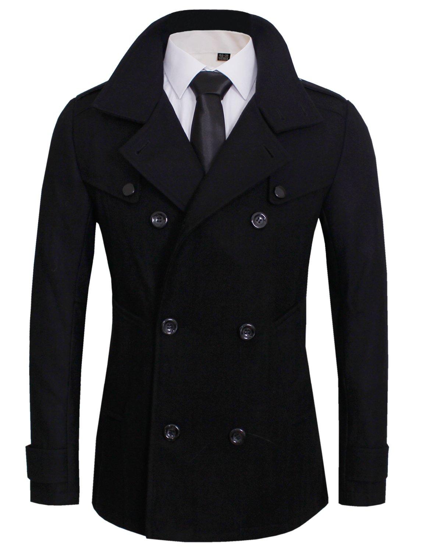 Tom's Ware Men's Stylish Wool Blend Pea Coat TWCC05LQ-C06-BLACK-US L