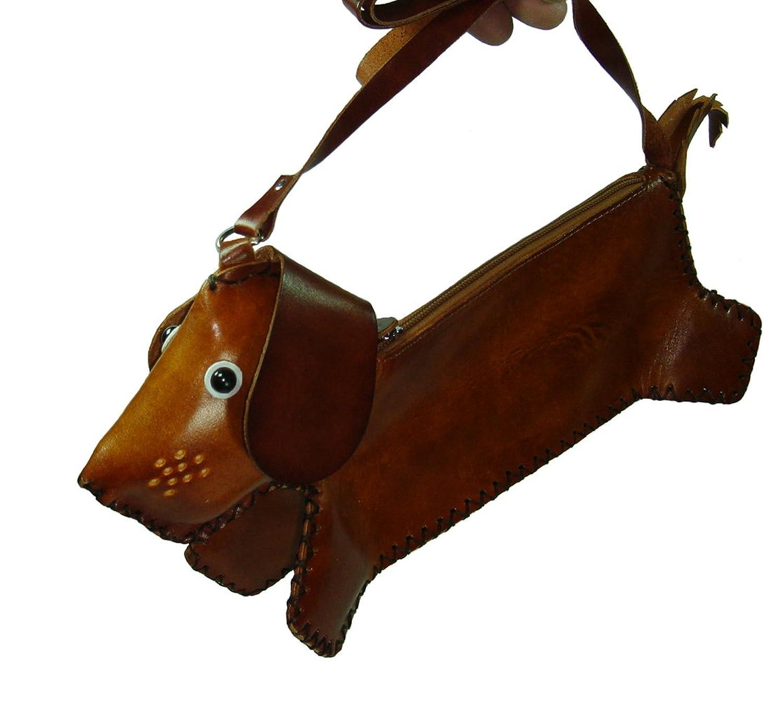 Attractive Dachshund Dog Design, a Genuine Leather Cross Body bag, Medium and 100% Handmade.