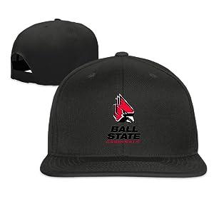 ElishaJ Flat Billed Ball State University Trucker Hats Caps Black