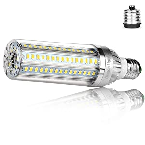 35W Super Bright Corn LED Light Bulbs (300 Watt Equivalent) - 6500K Daylight 3850Lumens - E26 with E39 Mogul Base Adapter for Large Area Commercial Ceiling Lights - Garage Warehouse Factory Workshop
