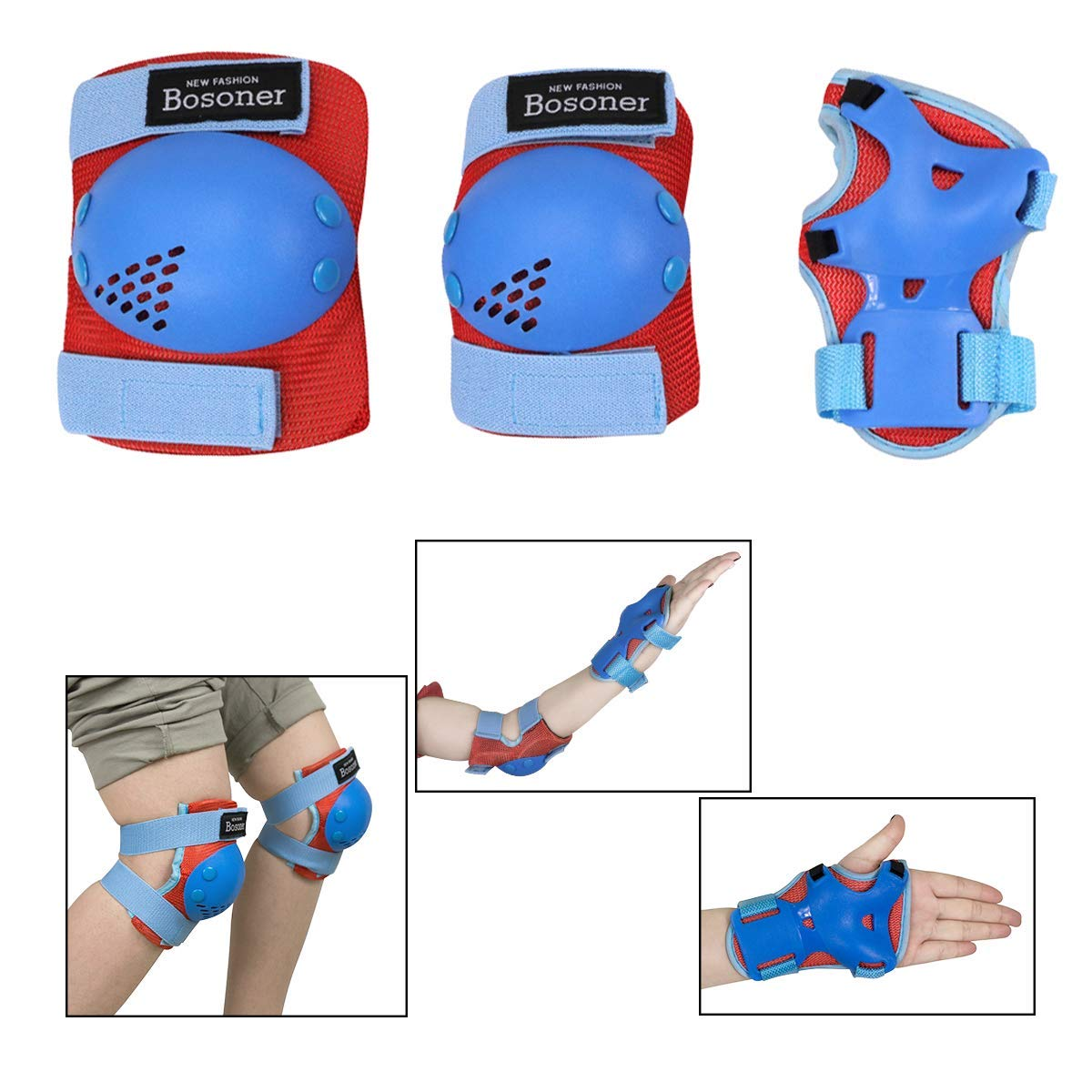Skating Skatings Scooter Riding Sports Bosoner Kids//Youth Knee Pad Elbow Pads for Rollerblade Roller Skates Cycling BMX Bike Skateboard Inline Rollerblading