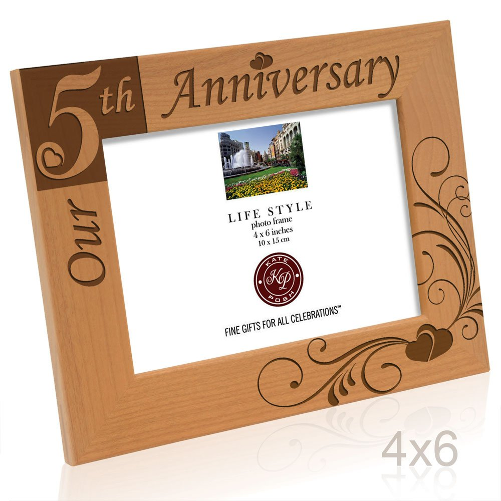 Amazon kate posh our 5th anniversary engraved solid wood amazon kate posh our 5th anniversary engraved solid wood picture frame 4x6 horizontal single frames jeuxipadfo Image collections
