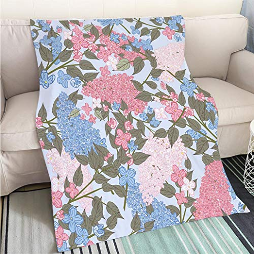 (BEICICI Art Design Photos Cool Quilt Pink and Blue Lilac Garden Seamless Pattern Living Room/Bedroom Warm Blanket )
