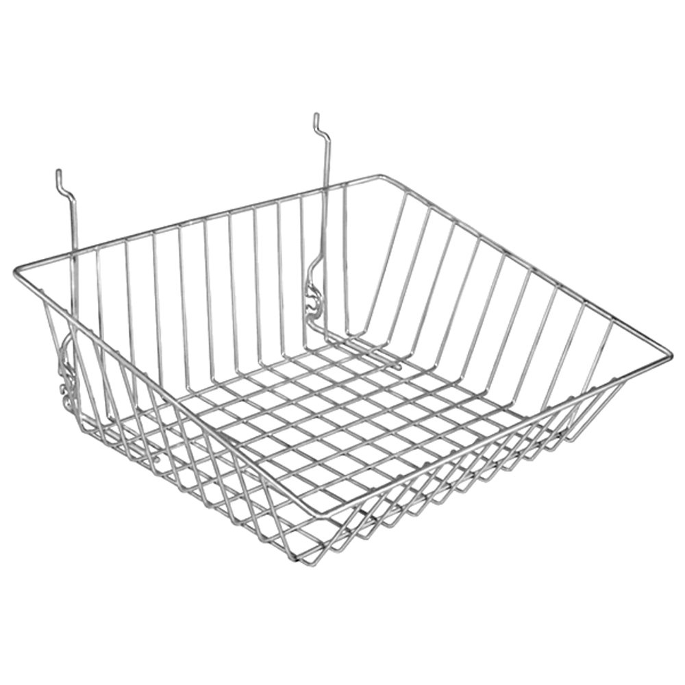 Sloping Basket Fits Slatwall Gridwall Pegboard 15''Wx12''Dx5''H Chrome Lot of 6 NEW