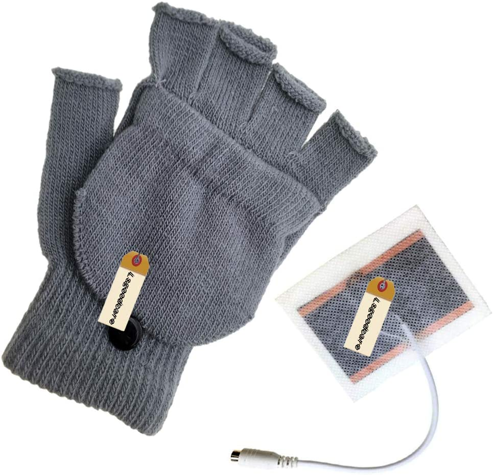 Winter USB Powered Heated Glove for Women Girls Lsgoodcare Grey USB Full /& Half Finger Heating Knitting Wool Hands Warm Gloves Men Boys USB Glove Hand Warmers Great for Christmas