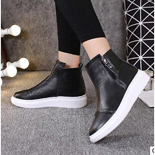 de blanco Botas Plano redondeado Confort White Toe Otoño PU casual para y negro Invierno Botines Mujer Zapatos botines pUxwHqdAp