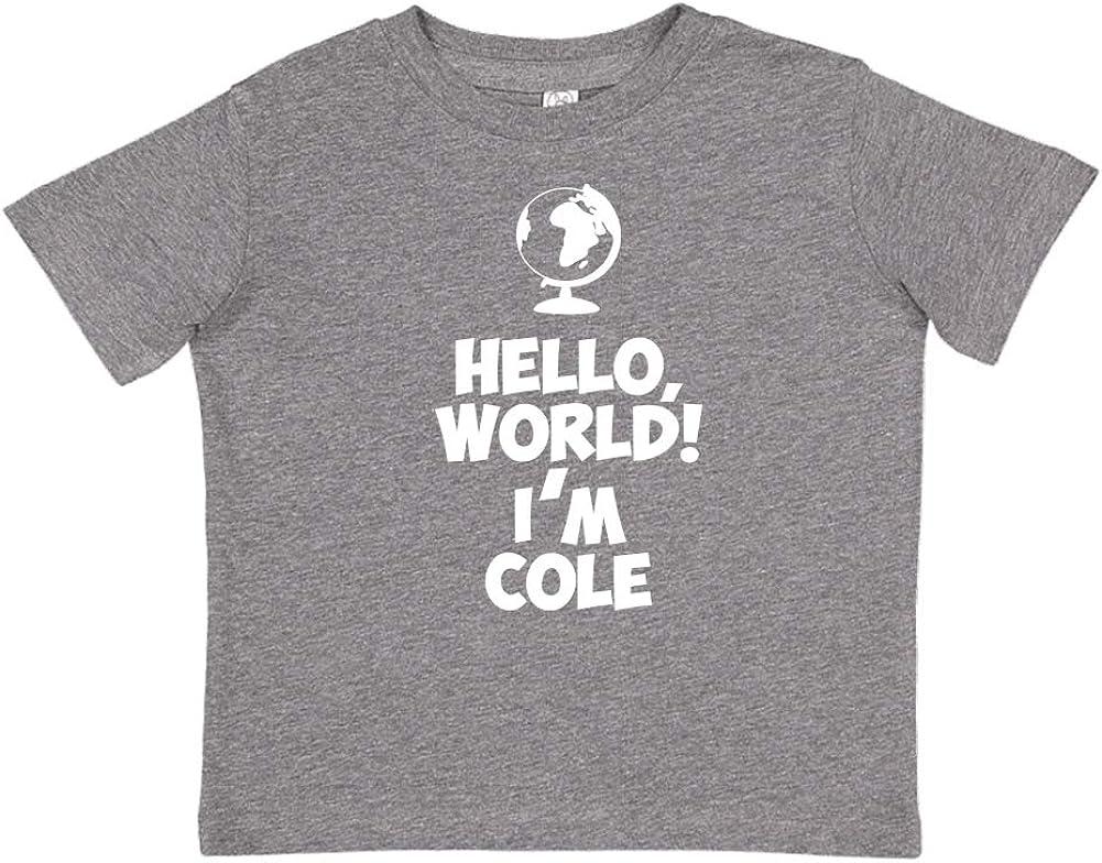 Im Cole Mashed Clothing Hello Personalized Name Toddler//Kids Short Sleeve T-Shirt World