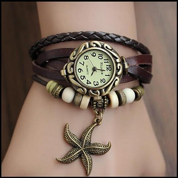 Belleza regalo 2015 alta calidad estrellas etiqueta piel de vaca relojes mujeres señoras vestido de moda reloj de pulsera de cuarzo Kow055: Amazon.es: ...