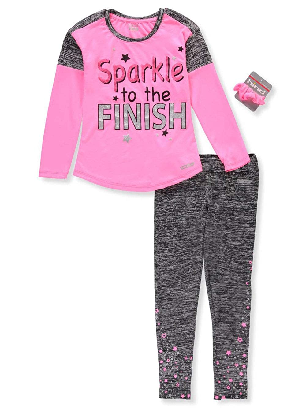 Hind Girls' 2-Piece Performance Leggings Set Outfit with Ponytail Holder