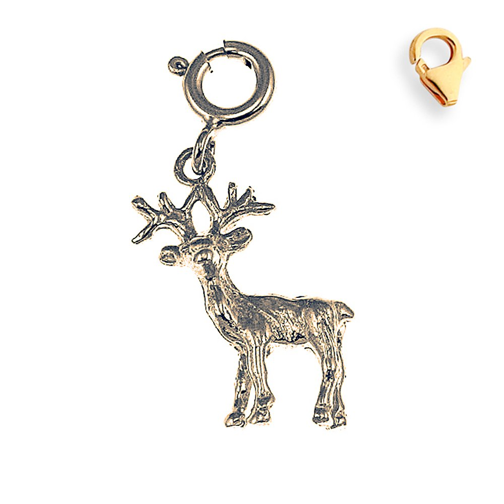 Silver Yellow Plated 3-D Moose Charm 21mm