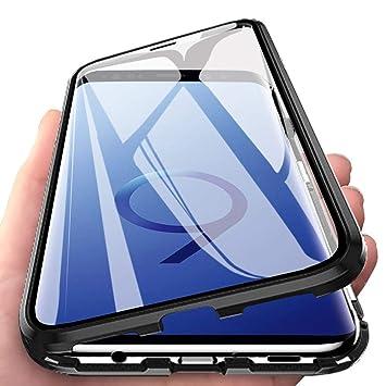 Eabhulie Galaxy S9 Plus Funda, Metal Bumper con Adsorción Magnética + 360 Grados Vidrio Templado Cobertura de Pantalla Completa Carcasa para Samsung ...