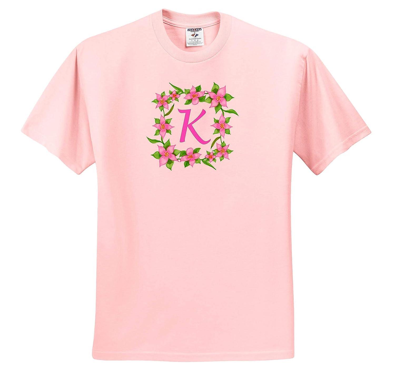 Painting of Pink Flowers Green Vine Frame Monogram Letter K Adult T-Shirt XL 3dRose CherylsArt Monograms ts/_316437