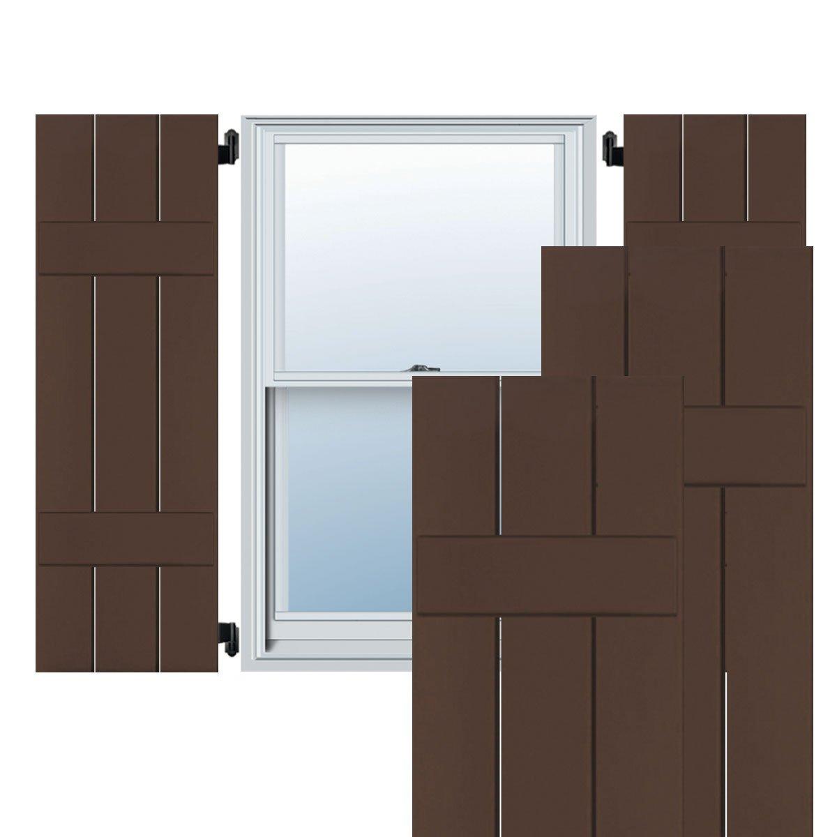 Tudor Brown 10 1//2W x 35H 10 1//2W x 35H Per Pair Ekena Millwork EB0110500X035000CTB Exterior Composite Wood Three Board Two Batten Board-n-Batten Shutters with Installation Brackets