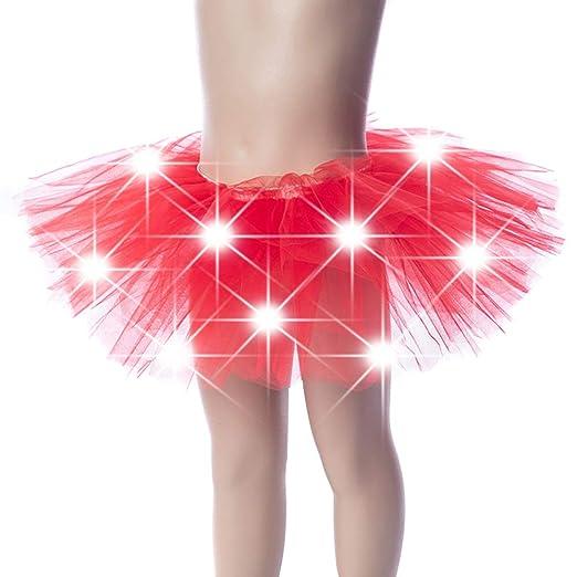 Cosay - Falda de Danza LED para niña, Brillante Beige Rojo: Amazon ...