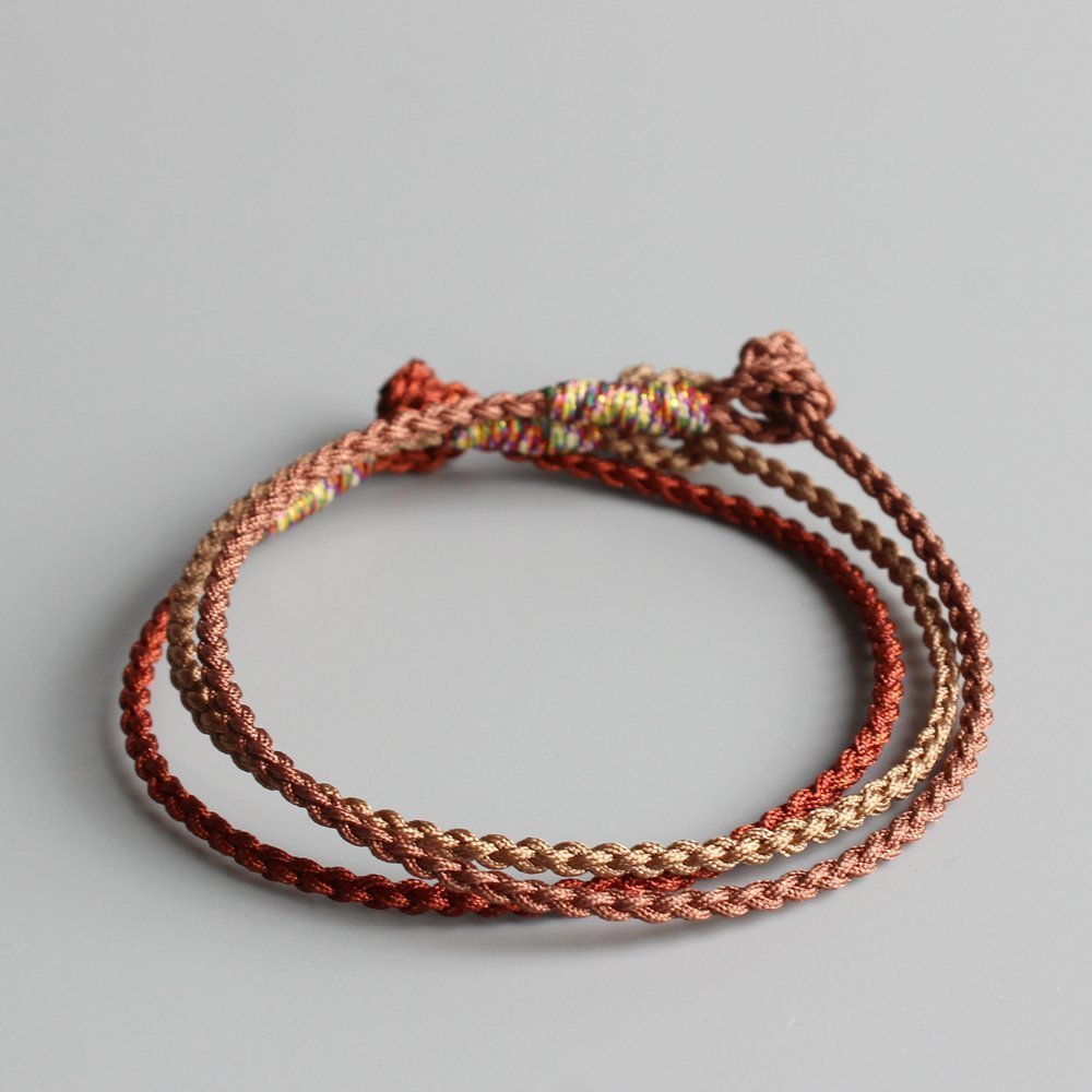 TALE Tibetan Buddhist Hand-Braided Lucky Knots Rope Super Thin Bracelet Blessed By Lama Monk khaki,Brown