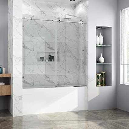 Elegant 60 W X 62 H Sliding Tub Glass Shower Door Frameless
