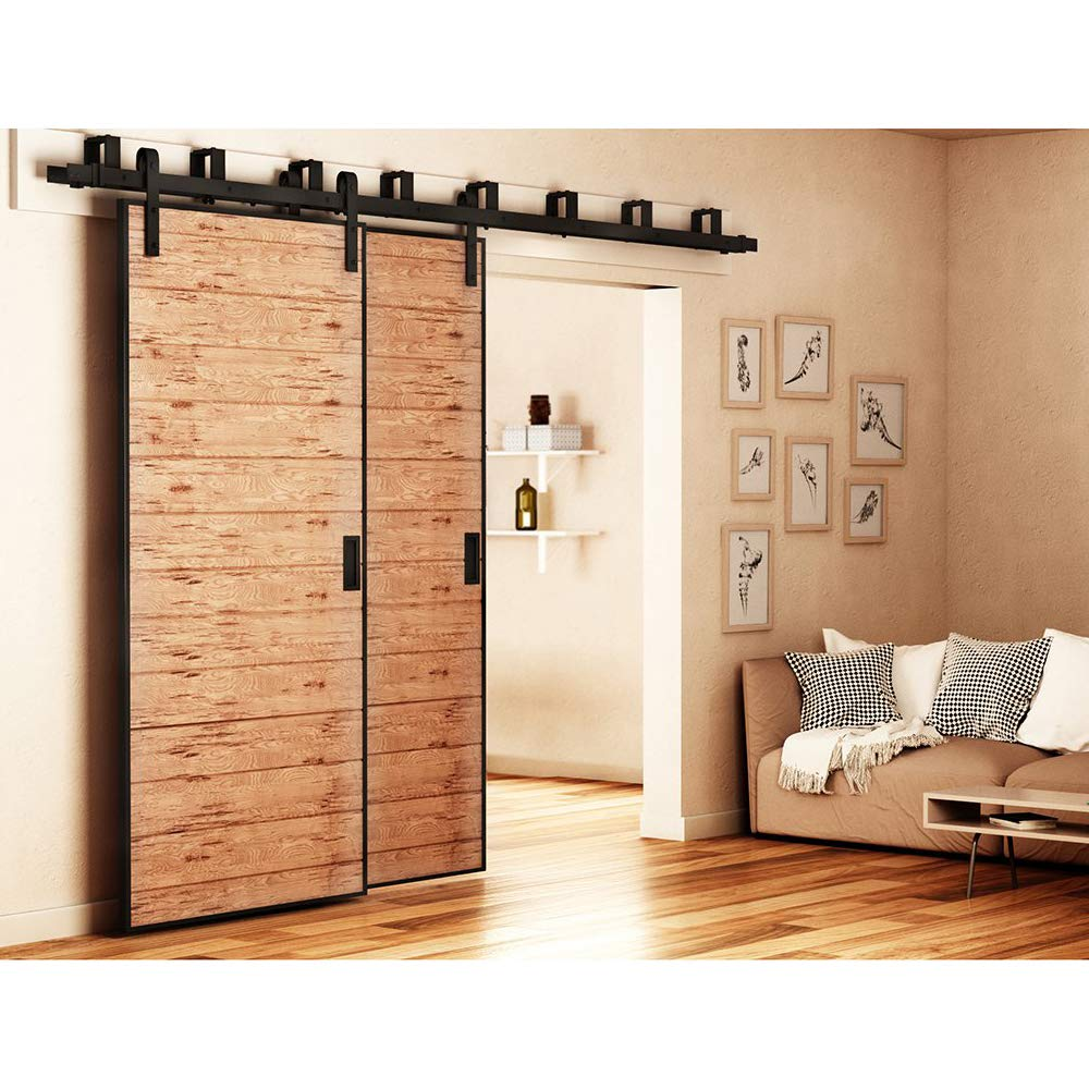 ZEKOO New Style 10 FT Sale Bypass Sliding Barn Door Hardware Steel Track for Double Wooden Doors Closet Kitchen Kit Low Ceiling by ZEKOO (Image #6)
