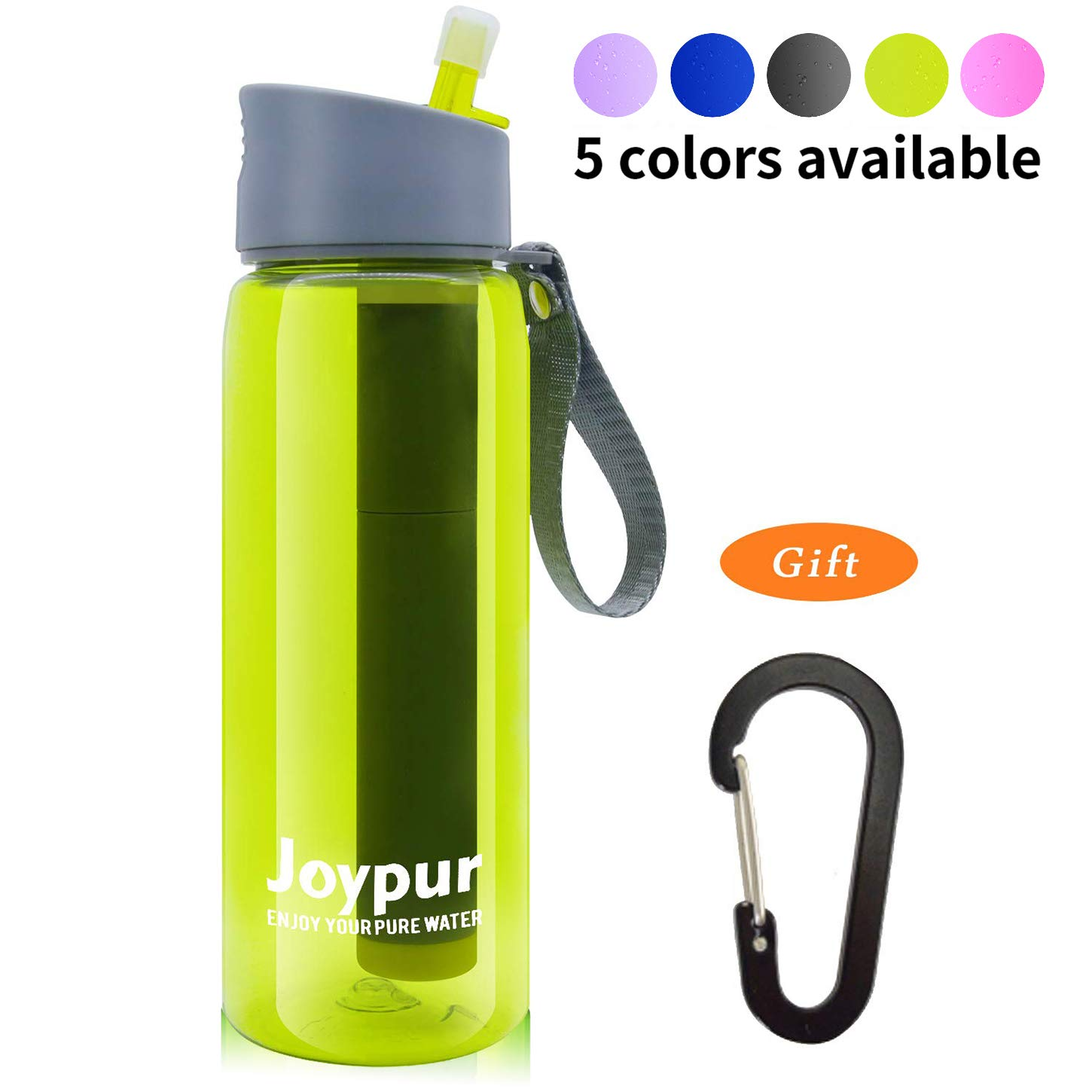 Joypur Outdoor Filtered Water Bottle Camping Water Filter with 3-Stage Integrated Water Purifier for Travel Hiking Backpacking