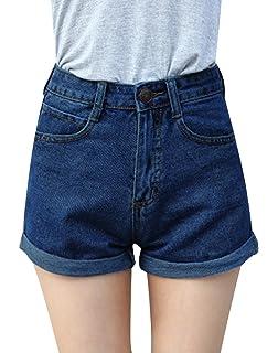 1329cde4cf6d Minetom Sommer Damen Denim Shorts High Waist Hot Pants Lochjeans Vintage  Baggy Basic Kurz Jeans Hose