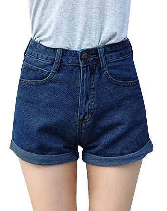 80c5cf731a1567 Minetom Sommer Damen Denim Shorts High Waist Hot Pants Lochjeans Vintage  Baggy Basic Kurz Jeans Hose