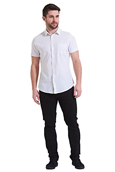 f82da3db0d7f1 Threadbare - Chemise Casual - Uni - Col Chemise Classique - Homme - Blanc -  taille