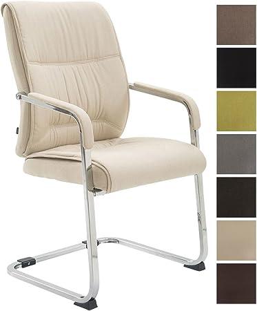 XXL-Freischwinger Anubis mit Kunstlederbezug und gepolsterter Sitzfläche I Pflegeleichter Konferenzstuhl mit Armlehne, Farbe:Creme