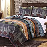 3 Piece Black Bear Brown Moose Quilt Full Queen Set, Jungle Themed Bedding, Striped Lodge Cabin Southwest Pattern, Mountains Pine Trees Wildlife Animal Game, Tribal Designs, Blue Brown Orange Green