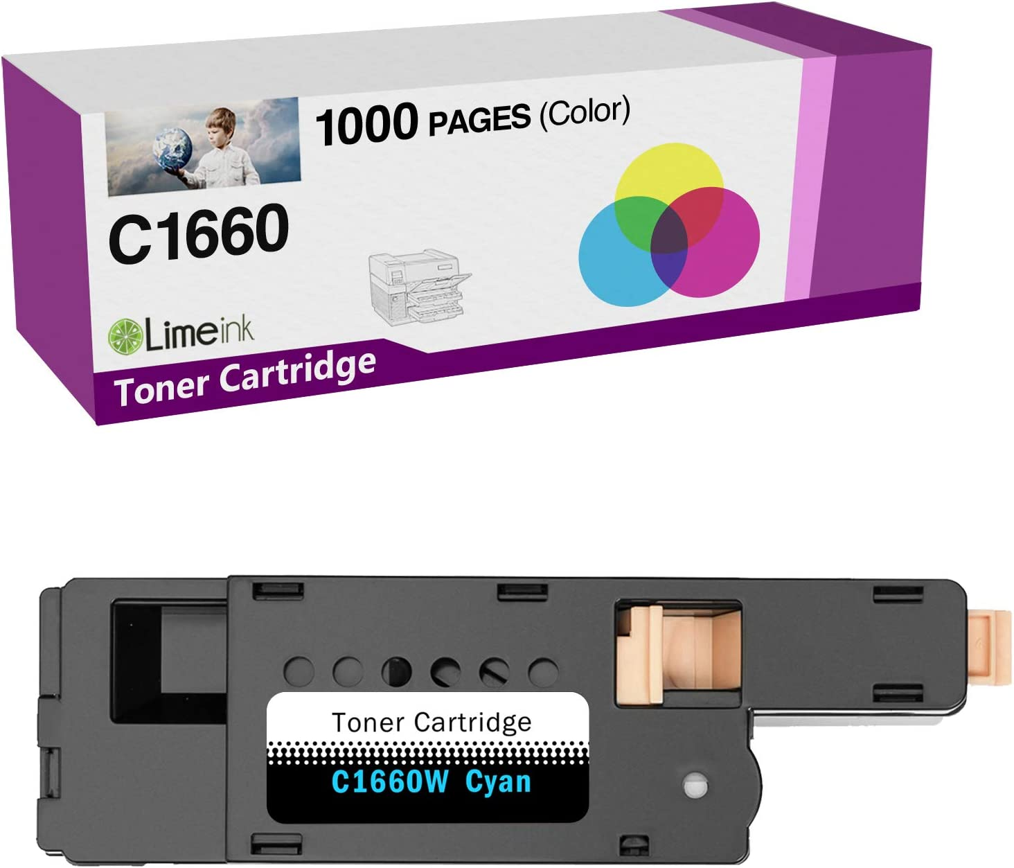 Limeink 1 Cyan Compatible High Yield Laser Toner Cartridges Replacement for Dell C1660 4G9HP Compatible with C1660 C1660W C1660cnw 1660 1660W 1660cnw Printers