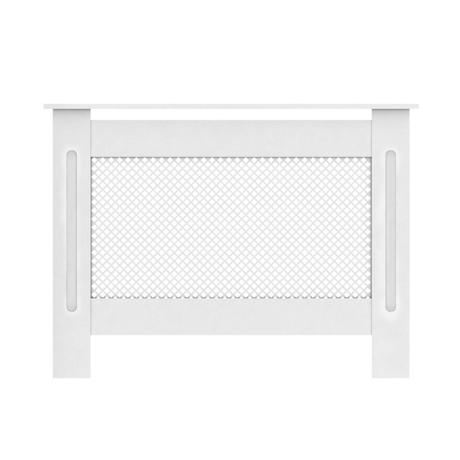 Happyjoy Painted Radiator Cover Cabinet Modern Diamond Style In White MDF - Small 1117x817x190mm