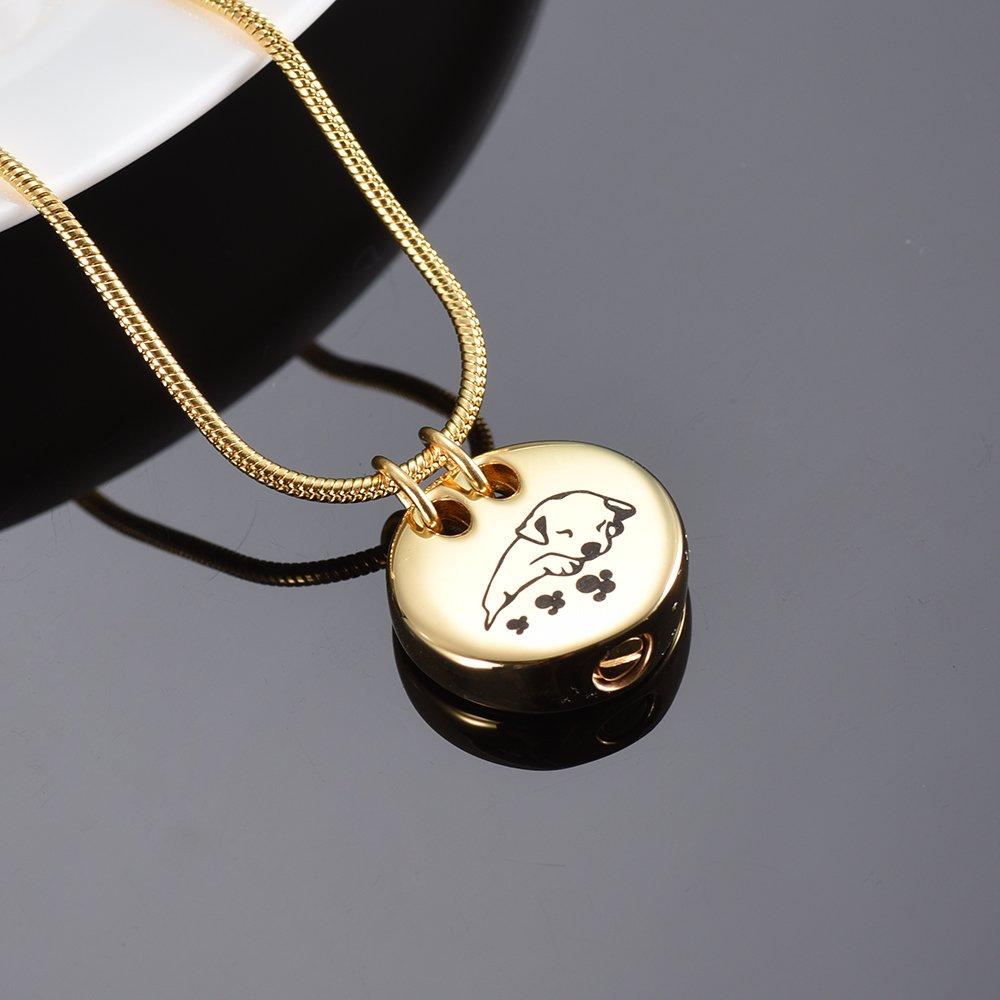 XSMZB Sleeping Dog Cremation Jewelry for Ashes Round Pet Pendant Locket Funeral Keepsake Memorial Urn Necklace Unisex