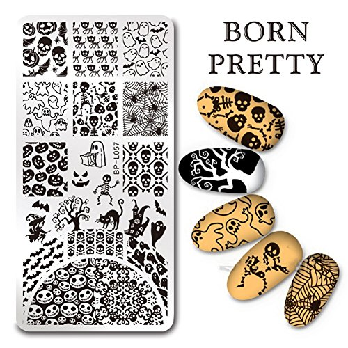 (Born Pretty Nail Art Stamp Template Halloween Pumpkin Design 12X6cm Rectangle Image Plate)