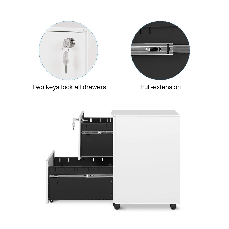 verrouillable Noir Caisson de Bureau pour A4,/à roulettes avec 2 tiroirs,Mobile DEVAISE Caisson de Rangement Meuble /à dossiers