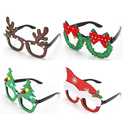 9ca65db2a36e8 Image Unavailable. Image not available for. Color  4PCS Christmas Fancy  Dress Party Funny Glasses Frame Novelty Christmas Costume ...