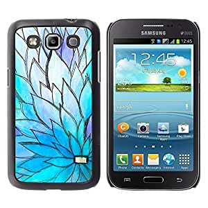 Caucho caso de Shell duro de la cubierta de accesorios de protección BY RAYDREAMMM - Samsung Galaxy Win I8550 I8552 Grand Quattro - Floral Blue Purple Petal Spring