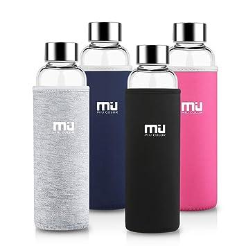 MIU COLOR - Botella portátil de vidrio de borosilicato con funda de nailon gris Talla: