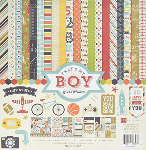 Kids Scrapbook Page - Echo Park Paper Company TMB60016 That's My Boy Kits