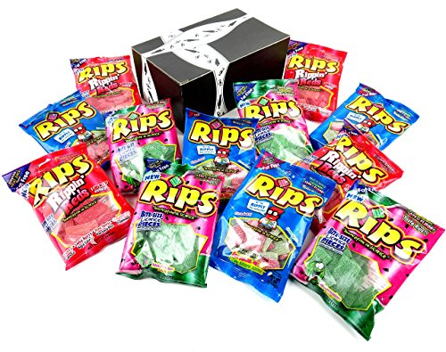 RIPS Licorice 3-Flavor Variety: Four 4 oz Bags Each of Strawberry/Green Apple, Rippin' Red, and Watermelon in a BlackTie Box (12 Items Total)]()