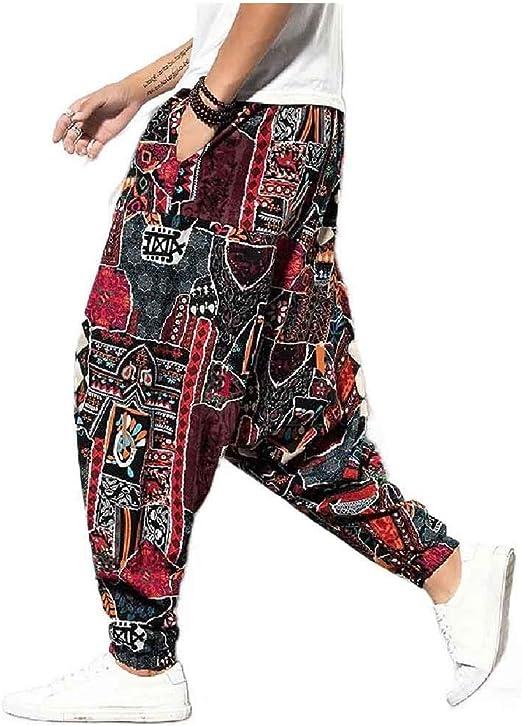 Candiyer Mens Ethnic Style Hip Hop Plus Size Harem Pants Wide Leg Pants